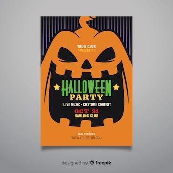 Cartel de fiesta de halloween de cara de calabaza de primer plano