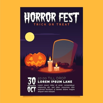 Cartel de fiesta de halloween en diseño plano