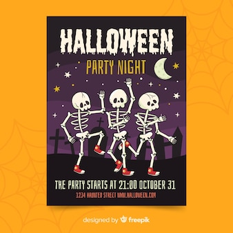 Cartel de fiesta de halloween esqueleto bailando