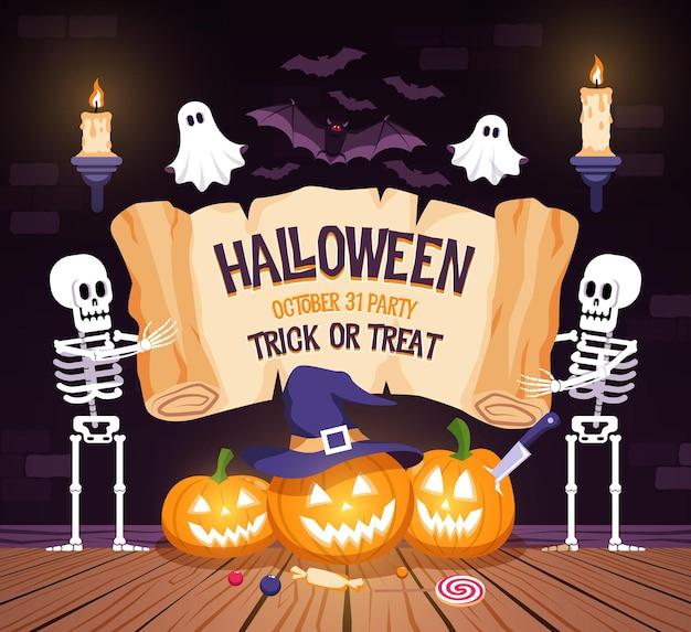 Cartel de fiesta de halloween con esqueletos de calabaza y fantasmas