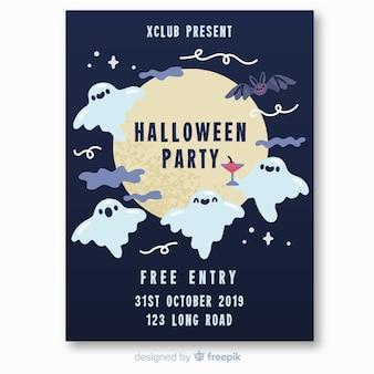 Cartel de fiesta de halloween de fantasmas y murciélagos volando