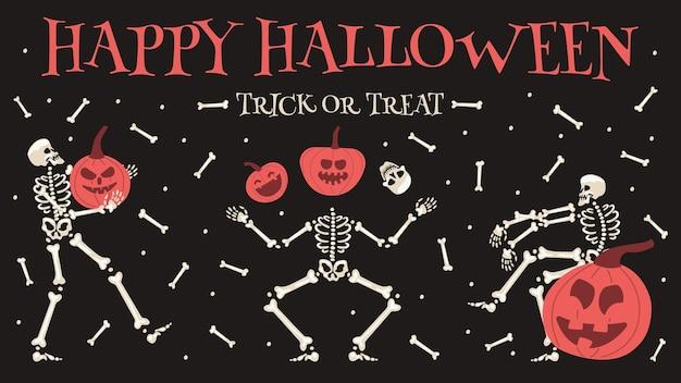 Cartel de fiesta de halloween feliz. esqueleto de halloween espeluznante con calabazas ilustración de fondo vector festivo invitación de fiesta de esqueletos de halloween. esqueleto de baile de la muerte, calabaza de halloween esquelético