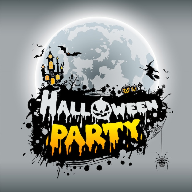 Cartel de fiesta de halloween feliz