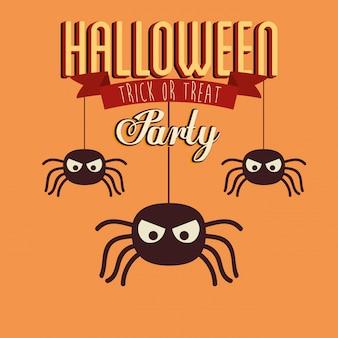 Cartel de fiesta de halloween con insectos arañas