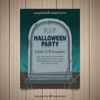 Cartel de fiesta de halloween con lápida dibujada a mano