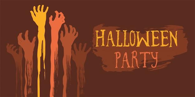 Cartel de fiesta de halloween con mano de zombie