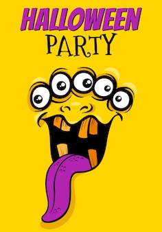 Cartel de fiesta de halloween con monstruo de dibujos animados