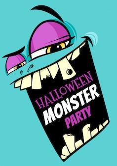Cartel de fiesta de halloween con monstruo