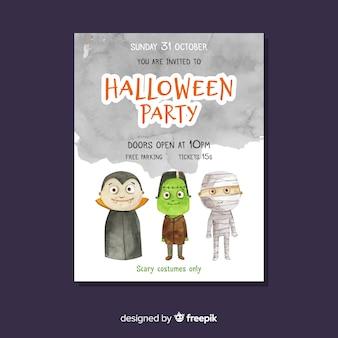 Cartel de fiesta de halloween con monstruos