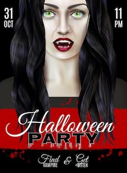 Cartel de fiesta de halloween con mujer aterradora con dientes de vampiro