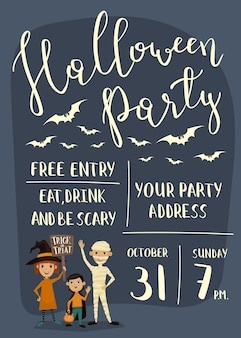 Cartel de fiesta de halloween con niños