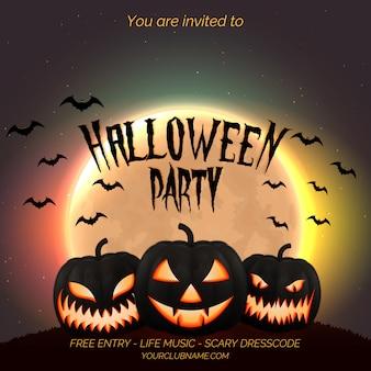 Cartel de la fiesta de halloween, plantilla de flyer con calabazas oscuras