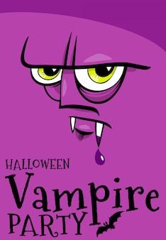 Cartel de fiesta de halloween con vampiro de dibujos animados