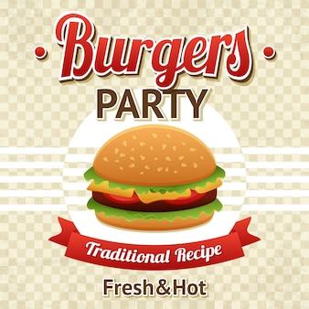 Cartel de la fiesta de hamburguesas