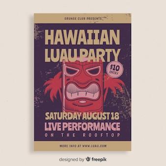 Cartel de fiesta hawaiana luau