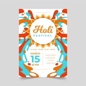 Cartel de fiesta holi con tinta colorida
