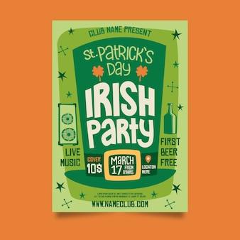 Cartel de fiesta irlandesa del día de san patricio