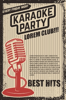 Cartel de fiesta de karaoke. micrófono vintage sobre fondo grunge. elemento para póster, volante. ilustración