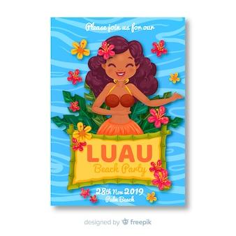 Cartel de fiesta luau playera