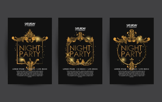 Cartel de fiesta de lujo de noche o plantilla de volante