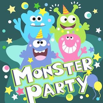 Cartel de fiesta monstruo