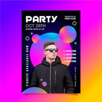 Cartel de fiesta de música de chico con gafas de sol