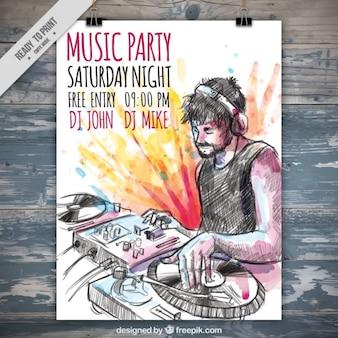 Cartel de fiesta de música de dj dibujado a mano y manchas de acuarela