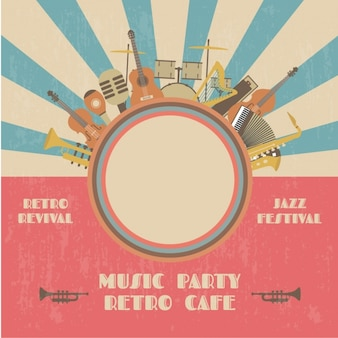 Cartel de fiesta de música retro