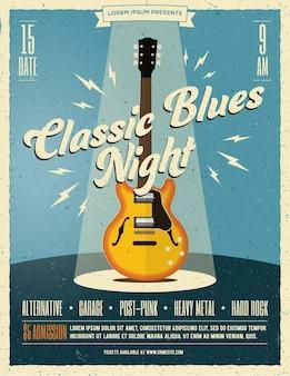 Cartel de fiesta de música rock en vivo o plantilla de volante con guitarra eléctrica clásica bajo el foco en el escenario.