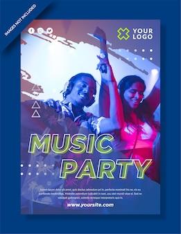 Cartel de fiesta musical y publicación en redes sociales.