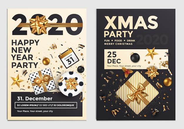 Cartel de fiesta de navidad y año nuevo o plantilla de diseño de volante