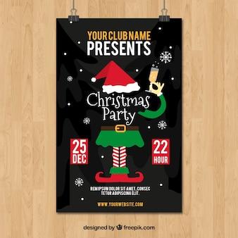 Cartel de fiesta de navidad con elfo y champán