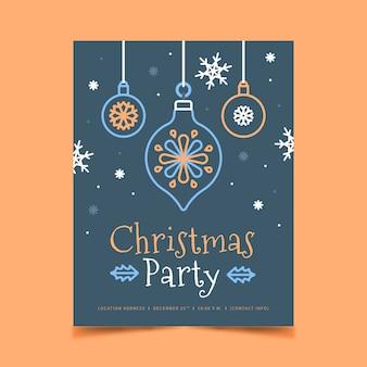 Cartel de fiesta de navidad en estilo de contorno