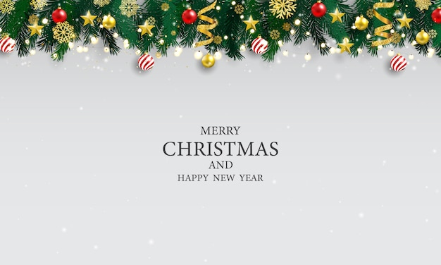 Cartel de fiesta de navidad y feliz año nuevo fondo.