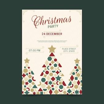 Cartel de fiesta de navidad de formas geométricas de árbol