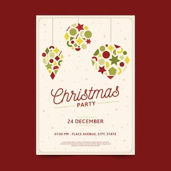 Cartel de fiesta de navidad de formas geométricas de bolas de navidad