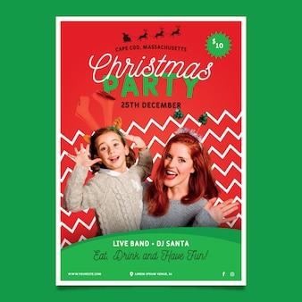 Cartel de fiesta de navidad con foto