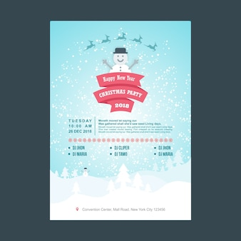 Cartel de fiesta de navidad de muñeco de nieve con color pastel