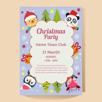Cartel de fiesta de navidad con navidad panda pingüino ciervo perro