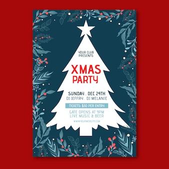 Cartel de fiesta de navidad de plantilla de diseño plano