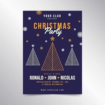 Cartel de fiesta de navidad en plantilla de estilo de contorno