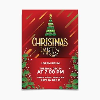 Cartel de fiesta de navidad y volante con árbol de navidad