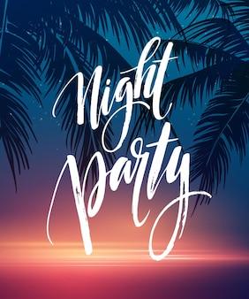 Cartel de fiesta de noche de verano caliente