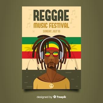 Cartel de fiesta nocturna de reggae