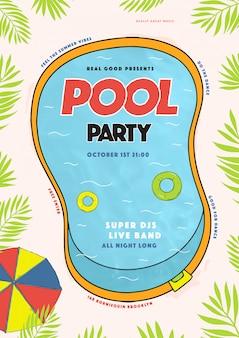 Cartel de fiesta en la piscina. evento de verano, festival vector ilustración colorida, cartel