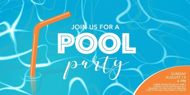 Cartel de fiesta en la piscina, pancarta con paja en la piscina. elemento de diseño de plantilla para invitación a evento de verano