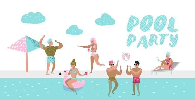 Cartel de fiesta en la piscina, pancarta. personajes gente nadando, relajándose, divirtiéndose en la piscina. vacaciones de verano en beach resort.