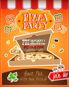 Cartel de fiesta de pizza