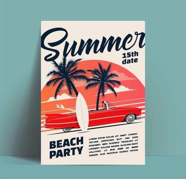 Cartel de fiesta en la playa de verano o plantilla de diseño de volante o invitación con coche descapotable retro de dibujos animados