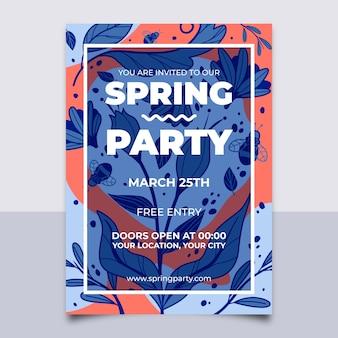 Cartel de fiesta de primavera con hojas abstractas de patrones sin fisuras